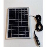 Solar Battery Charger 5W,12V - 0,3A with Cigarette Lighter Connector