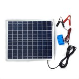 Solar Battery Charger 20W, 12V - 1,2A with Charge Controller 5A and  Battery Clamps