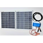 Solar Battery Charger 20W,24V - 1,2A with Charge Controller 10A and Battery Clamps