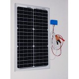 Solar Battery Charger 20W,12V - 1,2A with Charge Controller 5A and  Battery Clamps