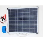 Solar Battery Charger 50W, 12V - 2,9A with Charge Controller 10A and Battery Clamps